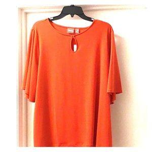 Chico's orange bell sleeved 3/4 top
